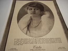 ANCIENNE PUBLICITE LES PERLES LE SECRET DE  TECLA 1923 - Jewels & Clocks