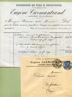 "LANGRES  (52) : "" VINS & SPIRITUEUX - Eugène CARMANTRAND ""  1899 - France"