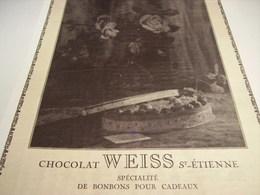 ANCIENNE AFFICHE PUBLICITE CHOCOLAT WEISS  DE SAINT ETIENNE   1928 - Chocolate