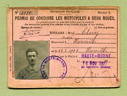 """HARREVILLE-LES-CHANTEURS  (52) : """" PERMIS DE CONDUIRE LES MOTOCYCLES A DEUX ROUES """" 1927 - Fiscaux"""