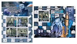 GUINEA BISSAU 2011 -  S.H. Reshevsky, Chess - Mi 5288-91 + B906, YT 3798-801 + BF625 - Schaken