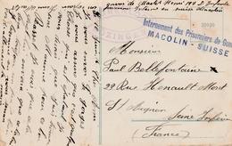 Macolin Suisse - Prisonniers De Guerre 1916 - Carte Pour La France - Taurenloch Bozingen - Postmark Collection