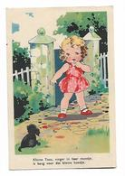 """Pas Signée - Petite Fille Et Petit Chien Noir - """"Kleine  Toos ,vinger  In  Haar Mondje ..... """" - Dessins D'enfants"""
