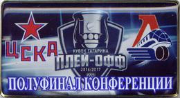77-10 Space - Sport Russian Pin Hocky Gagarin Cup CSKA (Moscow) - Locomotive (Yaroslavl) 2016-17 (40х22mm) - Space