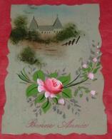 Carte En Céluloïde :: Bonne Année :: Fleurs    ------ 459 - Cartes Postales