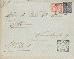 WW525 - Lettre TP Wilhelmina + Veth WELTEVREDEN 1905 Vers ALKMAAR NL - Tarif 15 Cents - Indes Néerlandaises