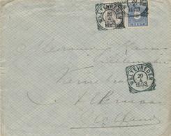 WW526 - Lettre TP Wilhelmina + Cijfer WELTEVREDEN 1903 Vers ALKMAAR NL - Tarif 15 Cents - Nederlands-Indië