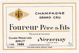 Ancienne Etiquette Champagne / BRUT 1986 / Foureur à Verzenay - Champagne