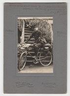 Militaire à Bicyclette - Octave Photo. Maxéville - Nancy - Photo Collée Sur Support Carton - 2 Scans - Militaria