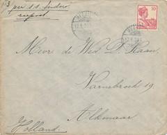 WW534 - Lettre TP Wilhelmina MEESTER CORNELIS 1920 Vers ALKMAAR NL - Tarif 10 Cents Zeepost S.S. Sindaro - Nederlands-Indië
