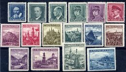 CZECHOSLOVAKIA 1935-38 Portraits And Views Definitives  MNH / **.  Michel 347-60, 386, 402 - Unused Stamps