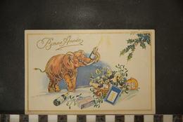 CP,  Bonne Année, éléphant , Cadeaux, Champagne - Nouvel An