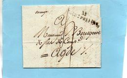 """Linéaire """"33 MONTPELLIER""""40X9mm,et Manuscrite """"Monp"""",LAC Du 4/4/1792. - Marcofilie (Brieven)"""