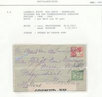WW539 - Lettre TP Wilhelmina + Veth WELTEVREDEN 1917 Vers HAARLEM NL - Per Mail  30/6 - Censure UK - Indes Néerlandaises