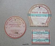 Tickets D'entree A L'enceinte De Pesage : Societe Des Courses De VICHY - 3,5 Et 6 Juillet 1899 - Biglietti D'ingresso