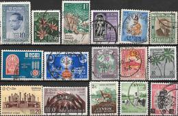 5Sb-681: Restje Van  16 Zegels...Ceylon ...om Verder Uit Te Zoeken... Waarvan Enkele Dubbel - Sri Lanka (Ceylan) (1948-...)