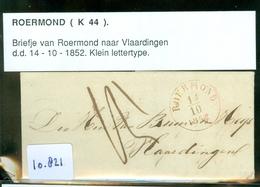HANDGESCHREVEN BRIEF Uit 1852 Gelopen Van ROERMOND Naar VLAARDINGEN (10.821) - Periode 1852-1890 (Willem III)