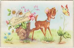 Lot D'une Série De 5 Cartes Bambi , Papillon.  Anniversaire - Autres