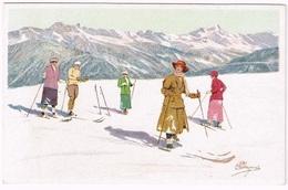 CARLO PELLEGRINI : Wintersport In Switzerland 1910 Artist Signed - Altre Illustrazioni
