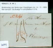 BRIEFOMSLAG Uit 1853 Gelopen Van VENLO Naar VLAARDINGEN * NA POSTTIJD  (10.829) - Periode 1852-1890 (Willem III)