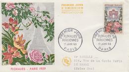 Enveloppe  FDC   1er Jour   FRANCE   Floralies  Parisiennes   1959 - FDC