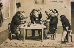 CPA - FRANCE - Jeux > De Cartes - Les Manillards - Carte Gauffrée - Datée 1er Août 1903 - TBE - Cartes à Jouer