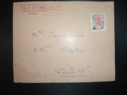 DEVANT TP MARIANNE A LA NEF 25F OBL.MEC.23-2 1960 POSTE AUX ARMEES AFN + SP 87.330 A.F.N. - Poststempel (Briefe)