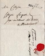 1793 - GRENOBLE - L.A.S. PAGANON Au Citoyen FORQUET, Juge Au Tribunal De MONTELIMAR (26) - Historische Documenten