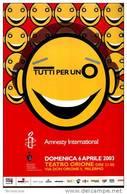 X TEATRO ORIONE AMNESTY INTERNATIONAL PUBBLICITARIA NON VIAGGIATA - Teatro