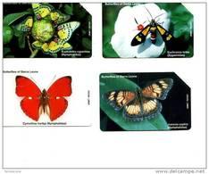 LOTTO FARFALLE BUTTERFLIES 4 SCHEDE SIERRA LEONE TEMATICA ANIMALI - Pesci