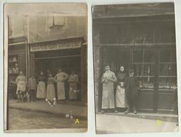 Lot De 2 CPA Boucherie Charcuterie Roux, Rue De Clermont, Boen Sur Lignon - France