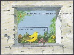 Turks Und Caicos 1990 Tiere Fauna Animals Vögel Birds Oiseaux Pajaro Uccelli Goldwaldsänger Wood-Warblers, Bl. 83 ** - Turks & Caicos