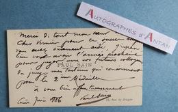 CDV 1886 Paul SAIN Peintre Né En AVIGNON - Carte De Visite Autographe à Emile VERNIER - Rue Du Dragon à Paris - Autographes