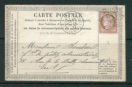 Carte Postale Du 13 Juin 1873, Y&T N°58- étoile De Paris N°12 - 1871-1875 Ceres