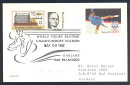 USA 1992 Postal Stationery Card: Figure Skating Eiskunstlauf Patinage Artistique Pattinaggio; ISU World Championships - Figure Skating