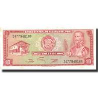 Billet, Pérou, 10 Soles De Oro, 1976, 1976-11-17, KM:112, SPL - Perú