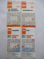 CARTE IGN (Lot De 4) : 1/50000 - St Martin De Londres Sommières - Lunel Et Montpellier - 2742 Et 2743 - 2842 Et 2843 - Topographical Maps