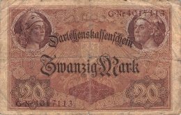 20 Mark ReichsbanknoteG Nr.4017113 - 20 Mark