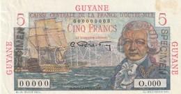 Guyane  Billet De 5 Francs Speimen Bouginville RRR - French Guiana