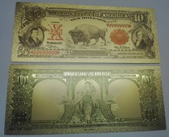 USA 10 Dollars Buffalo Polymer Fantasy Gold Banknote 153 X 65 Mm - Bilglietti Degli Stati Uniti (1862-1923)