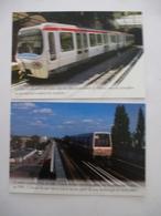 METRO : LYON : Ligne C Crémaillére - LILLE : Ligne 1 Du VAL, Automatique - LOT 2 CPM Editions Atlas - Détails Voir Scans - Subway