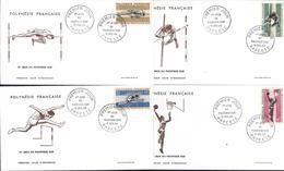 Polynésie Française 1er Jour D'émission II Jeux Pacifique Sud 15 12 66 Papeete YT 42 à 45 Hauteur Perche Course Basket - Collections, Lots & Séries