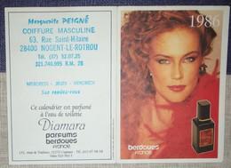 Petit Calendrier Poche  Parfumé Berdoues 1986 - Coiffeur Nogent Le Rotrou - Calendars
