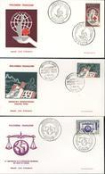 Polynésie Française 1er Jour D'émission 1963 Centenaire Croix Rouge Déclaration Droits De L'homme Philatec YT 24 à 26 - Collections, Lots & Séries