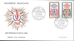 Polynésie Française 1er Premier Jour D'émission Année Internationale Des Droits De L'homme 10 8 1968 Papeete YT 62 63 - Collections, Lots & Séries
