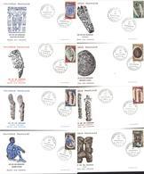 Polynésie Française 1er Premier Jour D'émission Art Des îles Iles Marquises 23 2 1968 Papeete YT 52 à 59 - Collections, Lots & Séries