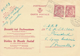 XX915 -- Entier Publibel + Découpure Entier Petit Sceau 65 C - Musée Postal Bruxelles 1955 - Publibels