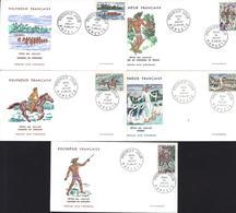 Polynésie Française 1er Premier Jour D'émission Fêtes Du 14 Juillet 11 7 1967 YT 47 à 51 Javelot Course Chevaux Porteur - Collections, Lots & Séries