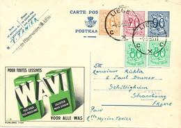 XX916 -- Entier Publibel 1126 + TP Lion Héraldiques LIEGE 1953 - Lessive Wavi - Publibels