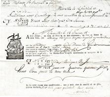 """15 Prairial An 11 - Marseille - Connaissement - Bateau """"Notre Dame Du Grau"""" - CIRE JAUNE - Documents Historiques"""